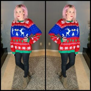 Fab, JOLLY SWEATERS, drinking reindeer sweater!!